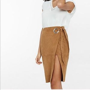 NWT Express Faux Suede Wrap Pencil Skirt